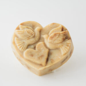 Serenity Soapworks Heart shaped goat milk soap with doves